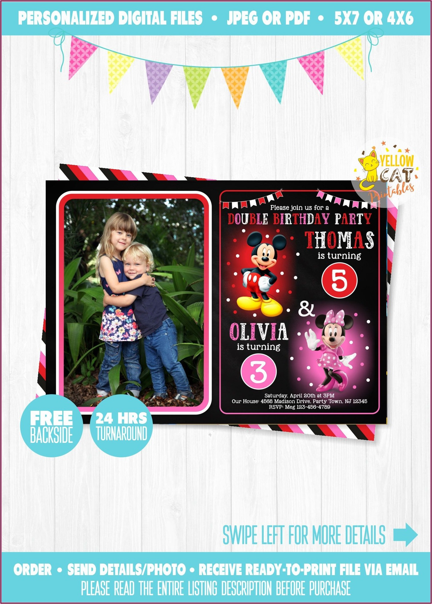 Minnie Mouse Birthday Invitation With Photo