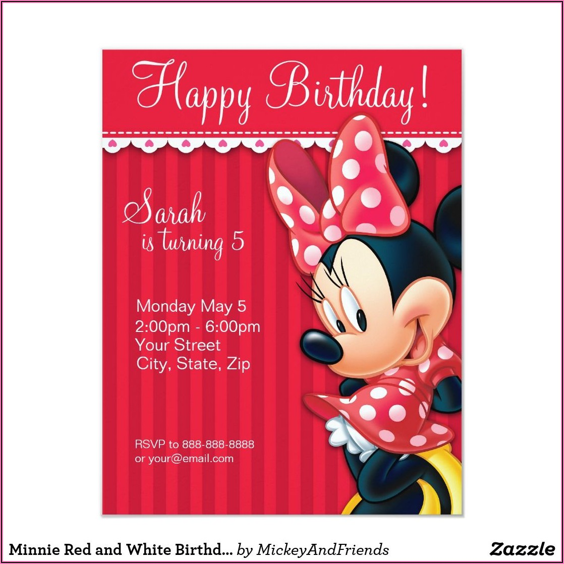 Minnie Mouse Birthday Invitations Zazzle