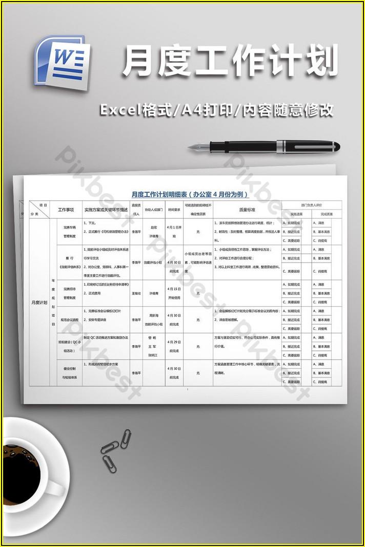 Monthly Work Schedule Example