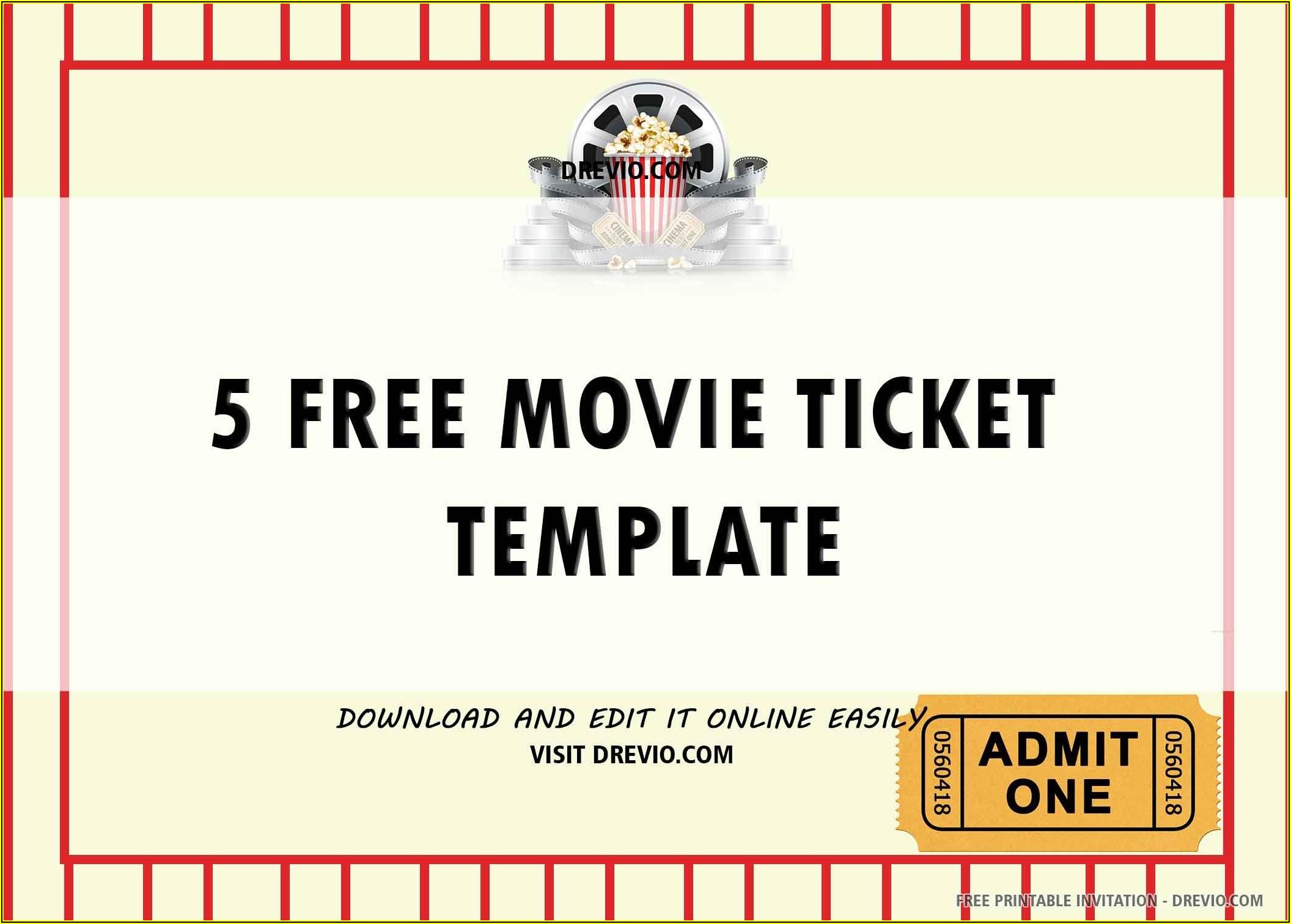 Movie Ticket Invitations Template