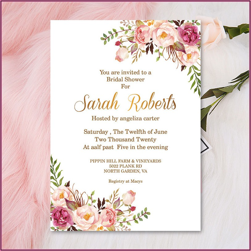 Navy Blue And Rose Gold Bridal Shower Invitations