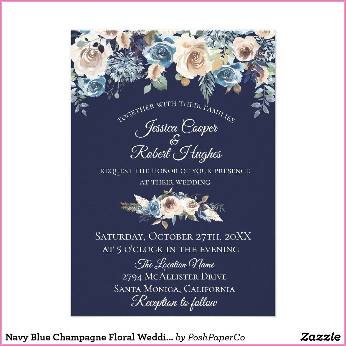 Navy Blue Floral Wedding Invitations