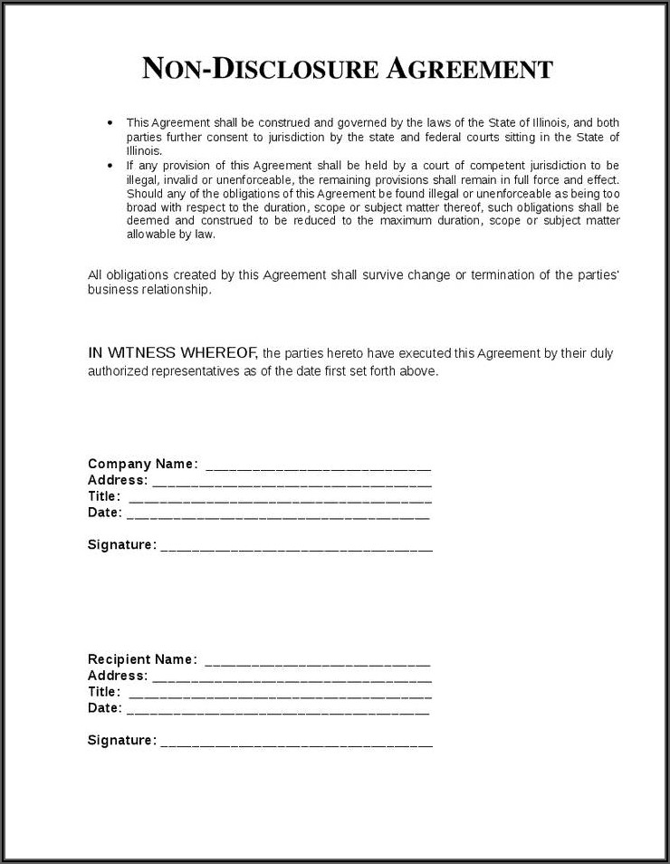 Non Disclosure Confidentiality Agreement Free Template