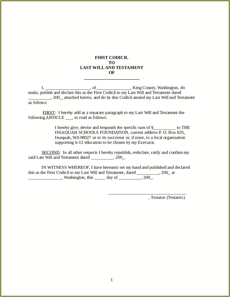 Online Last Will And Testament Template