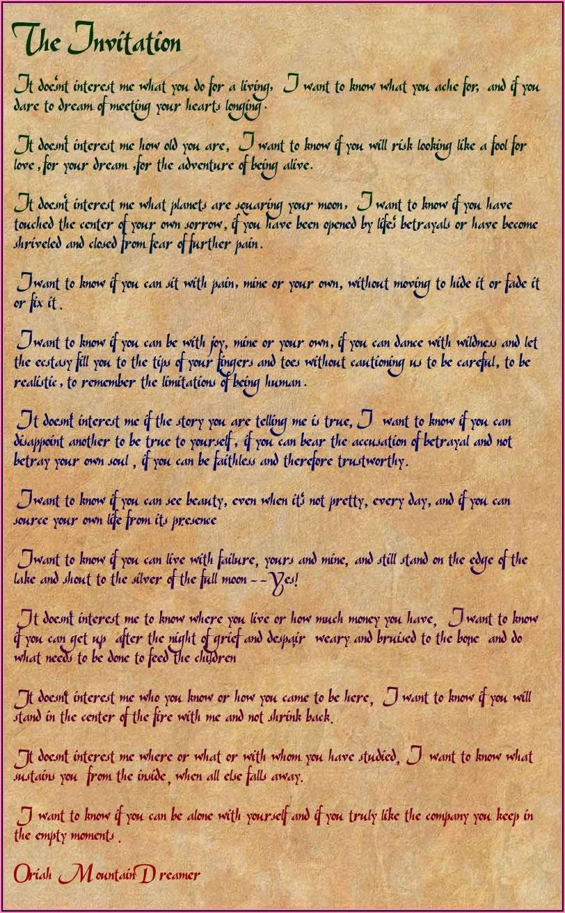 Oriah Mountain Dreamer L'invitation Pdf