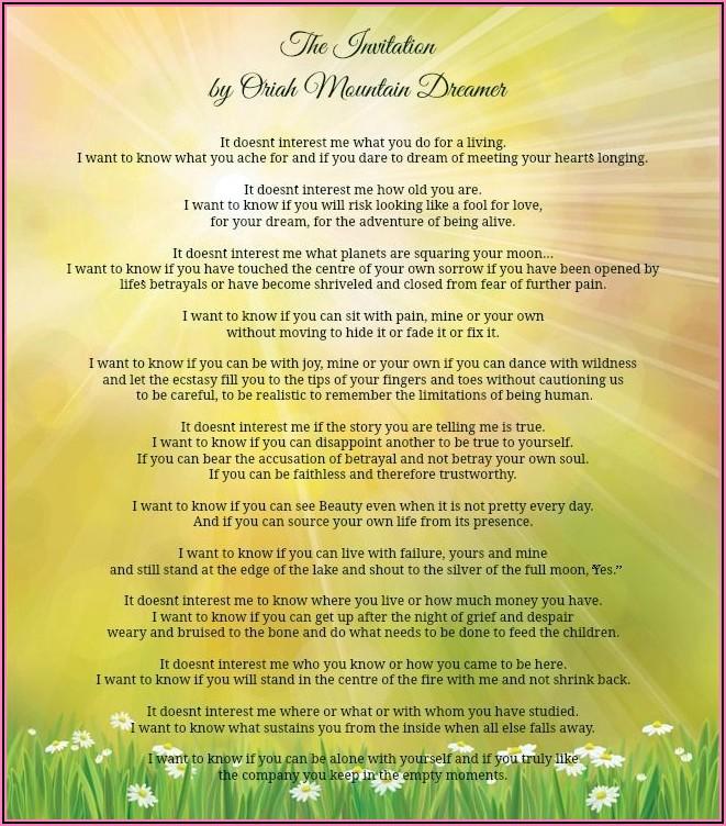 Oriah Mountain Dreamer The Invitation Pdf