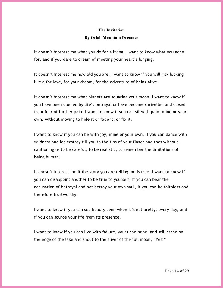 Oriah Mountain Dreamer The Invitation Text Deutsch