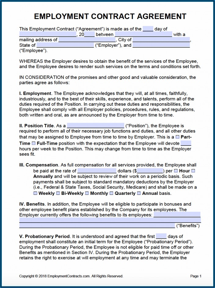 Part Time Employment Contract Template Free South Africa