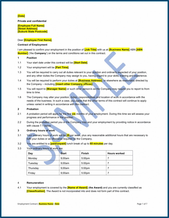 Part Time Employment Contract Template Malaysia
