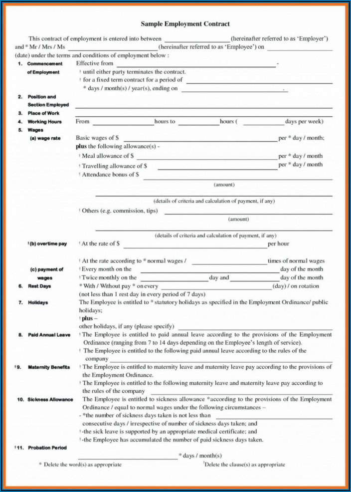 Part Time Employment Contract Template Uk