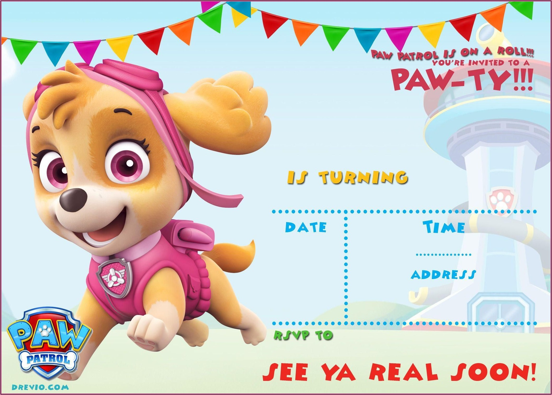 Paw Patrol Birthday Invitations Free Template