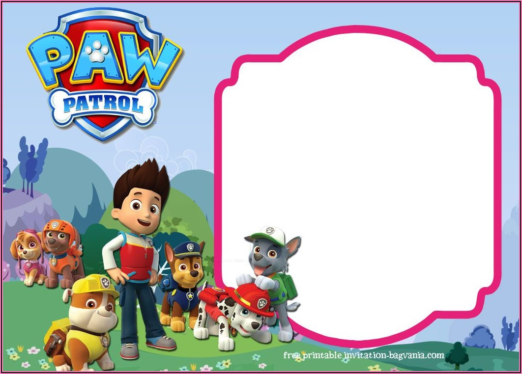 Paw Patrol Birthday Invitations With Picture