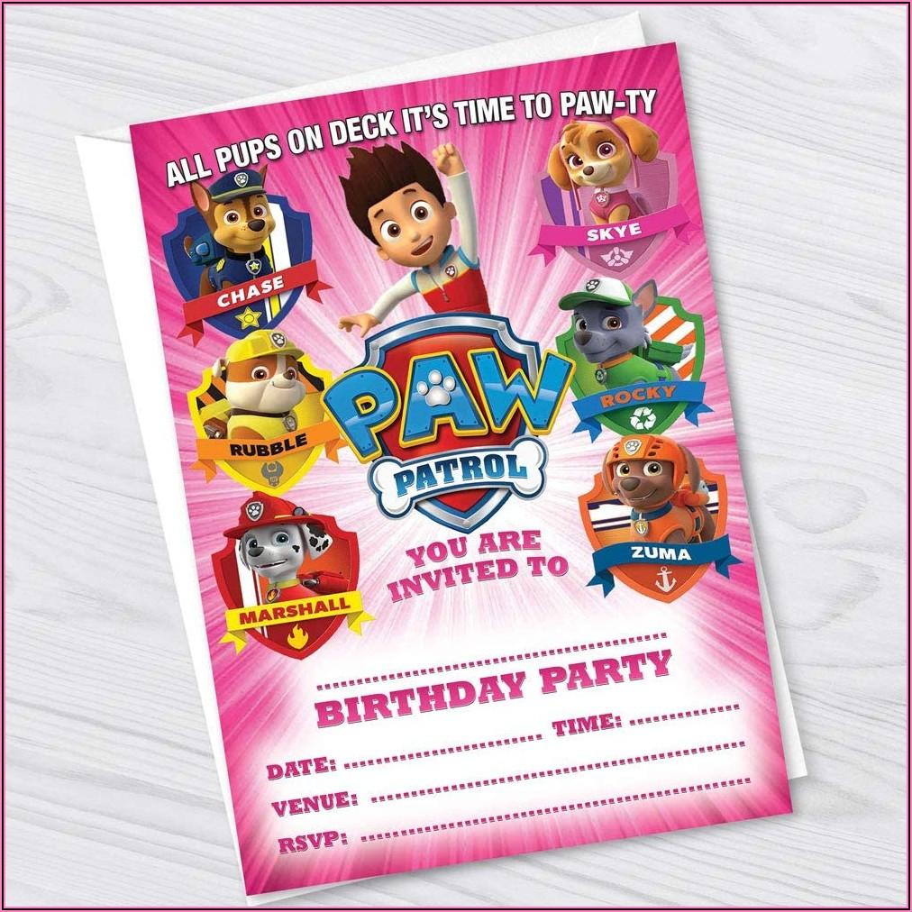 Paw Patrol Party Invitations Girl