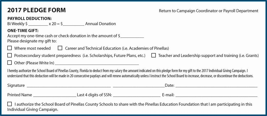 Payroll Deduction Form Example