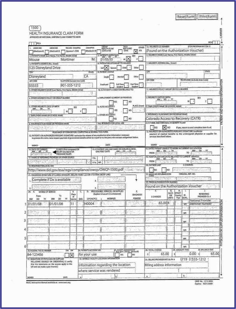 Pdf Cms 1500 Claim Form