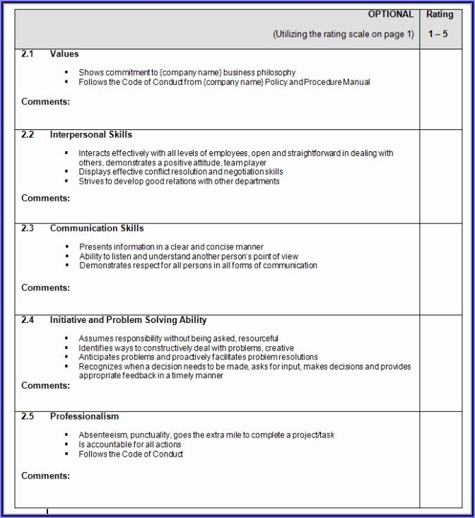 Performance Appraisal Form Template Word