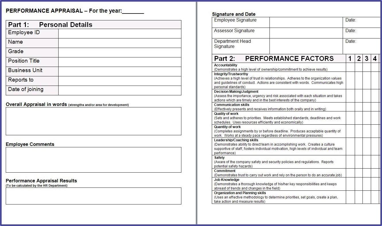 Performance Appraisal Templates