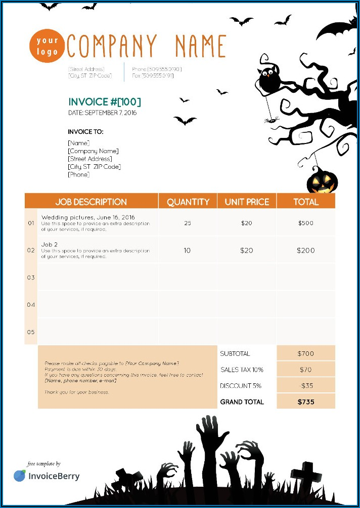 Pest Control Invoice Sample