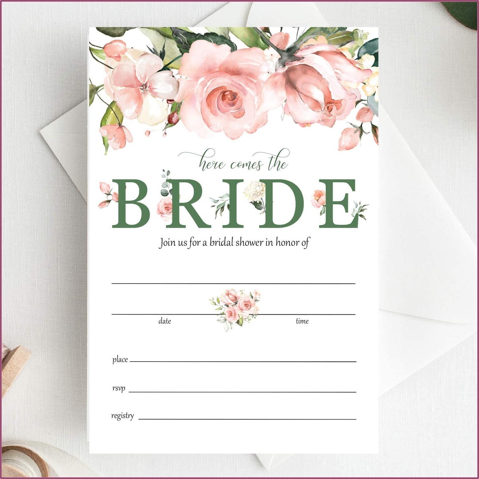 Pink Floral Bridal Shower Invitations