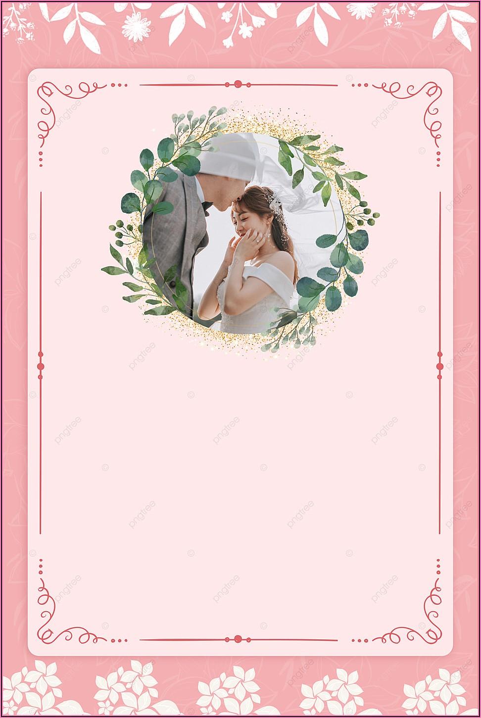 Pink Flowers Wedding Invitation Background