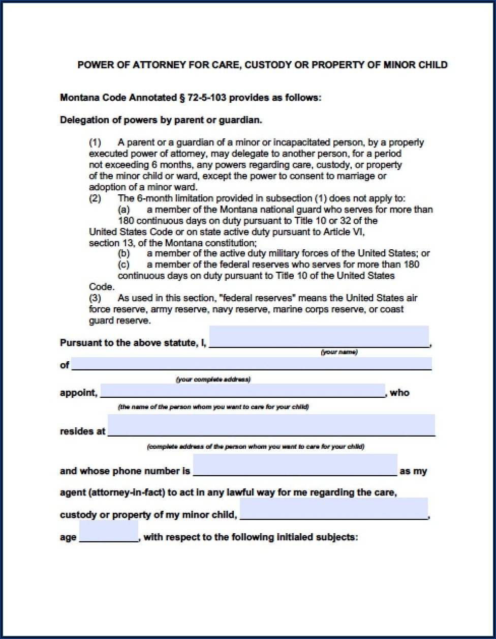 Power Of Attorney Form For Children's Medical