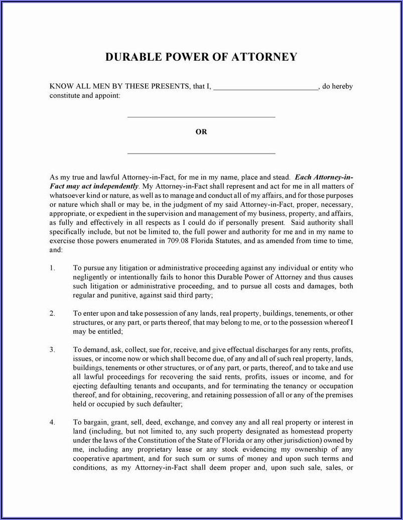 Power Of Attorney Form Free Printable Pdf