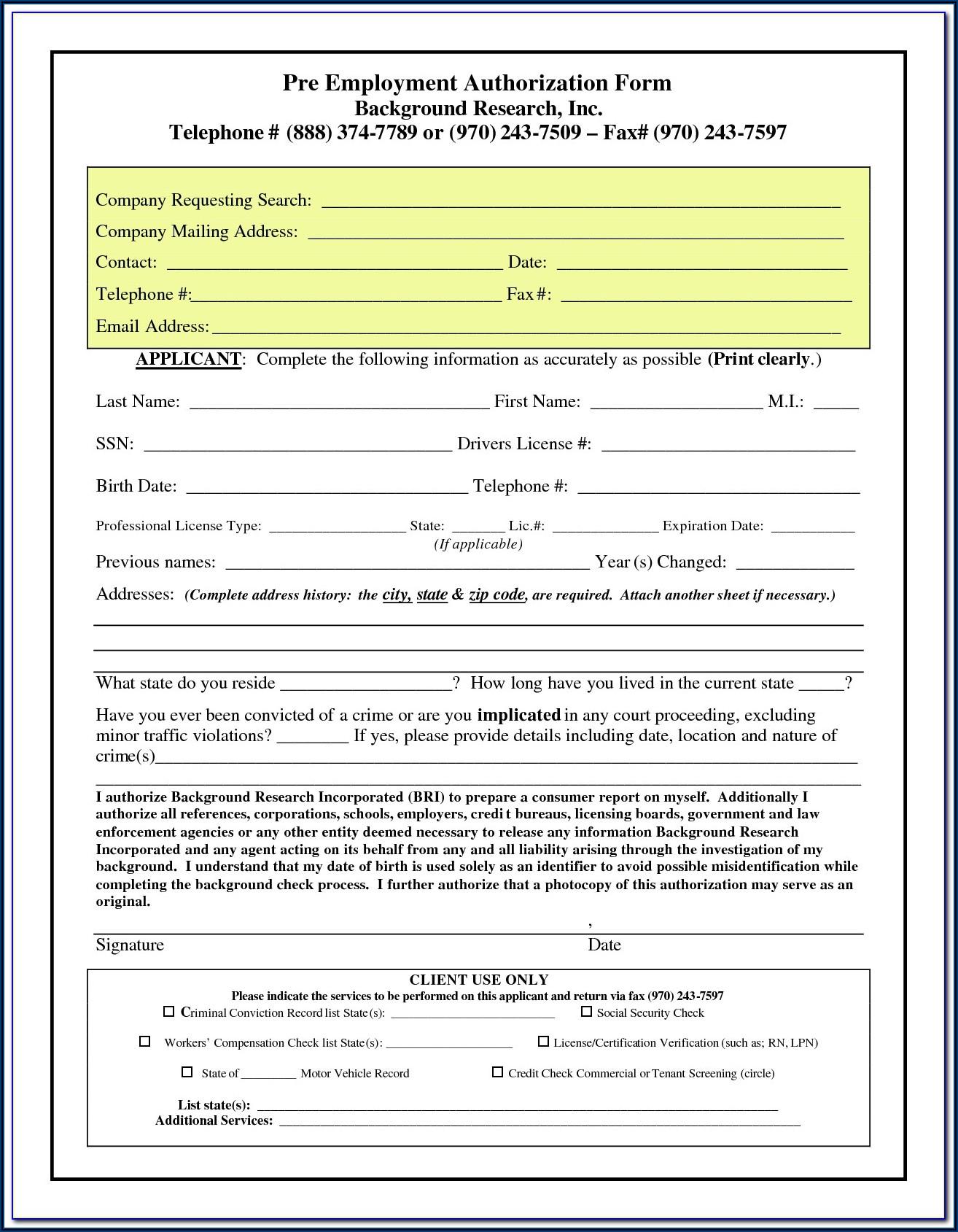 Pre Employment Background Check Authorization Form Philippines