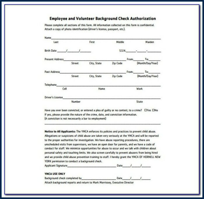 Pre Employment Background Check Format