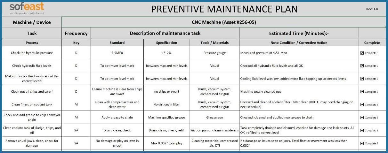 Preventive Maintenance Excel Format