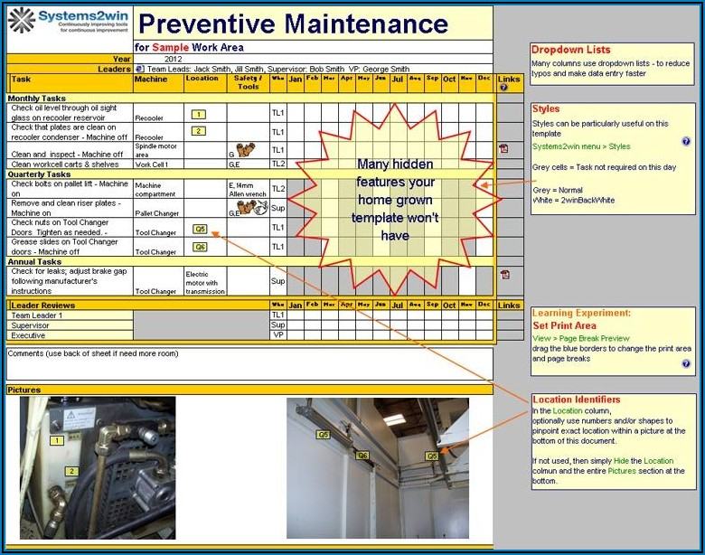 Preventive Maintenance Excel Template