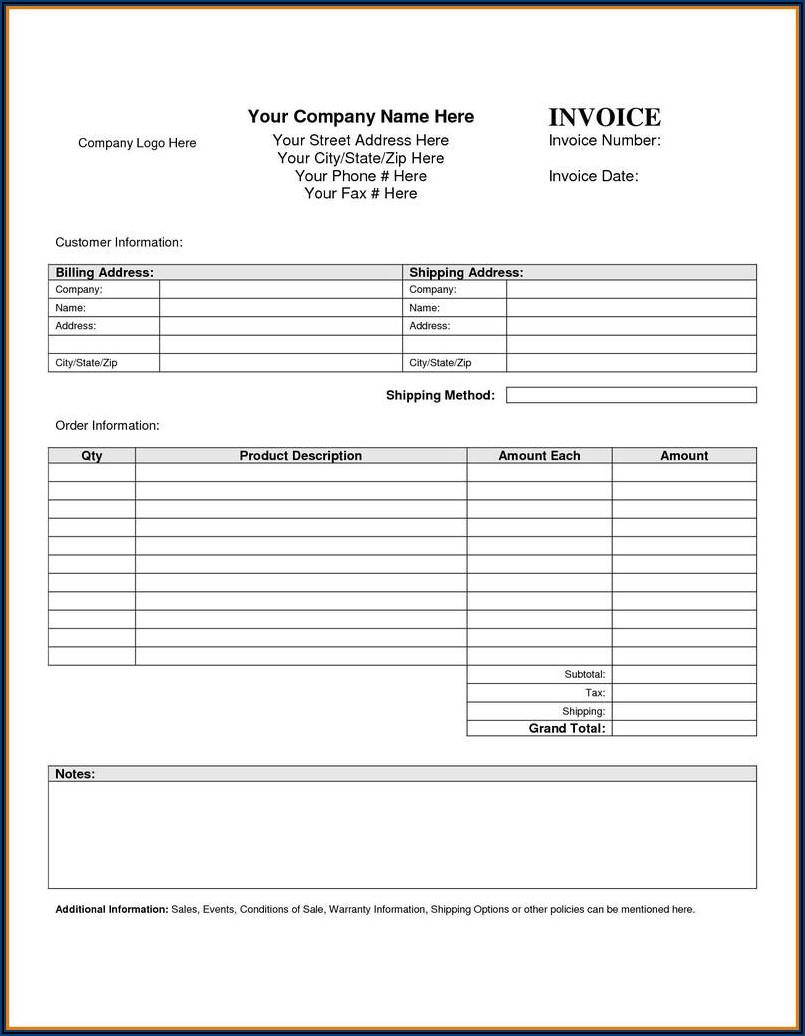 Printable Blank Work Order Template