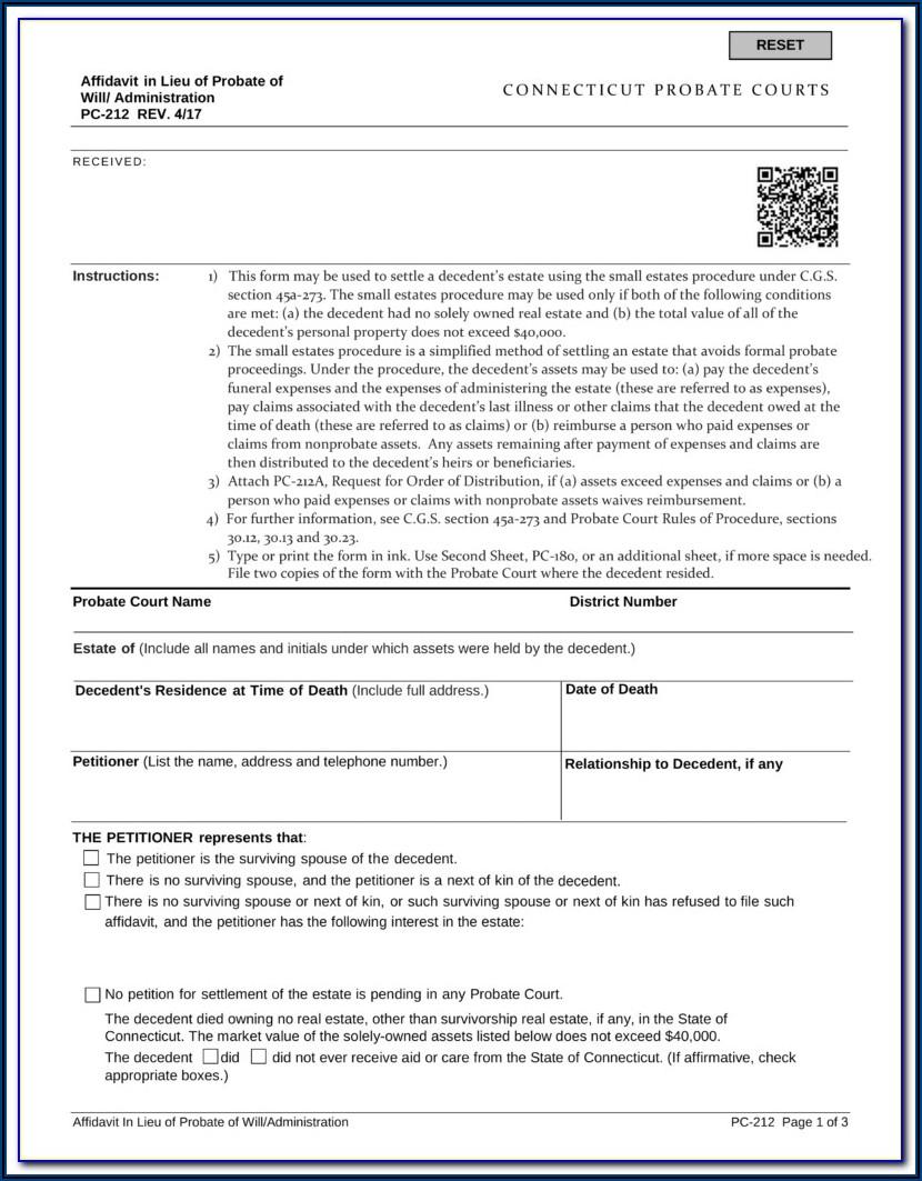 Probate Form 13100 Affidavit For Small Estates