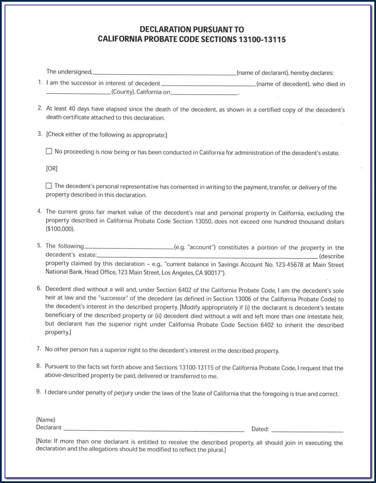 Probate Form 13100 Affidavit