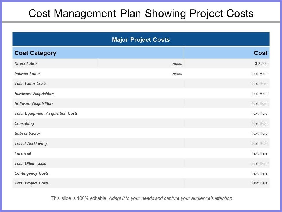 Project Cost Management Template Excel