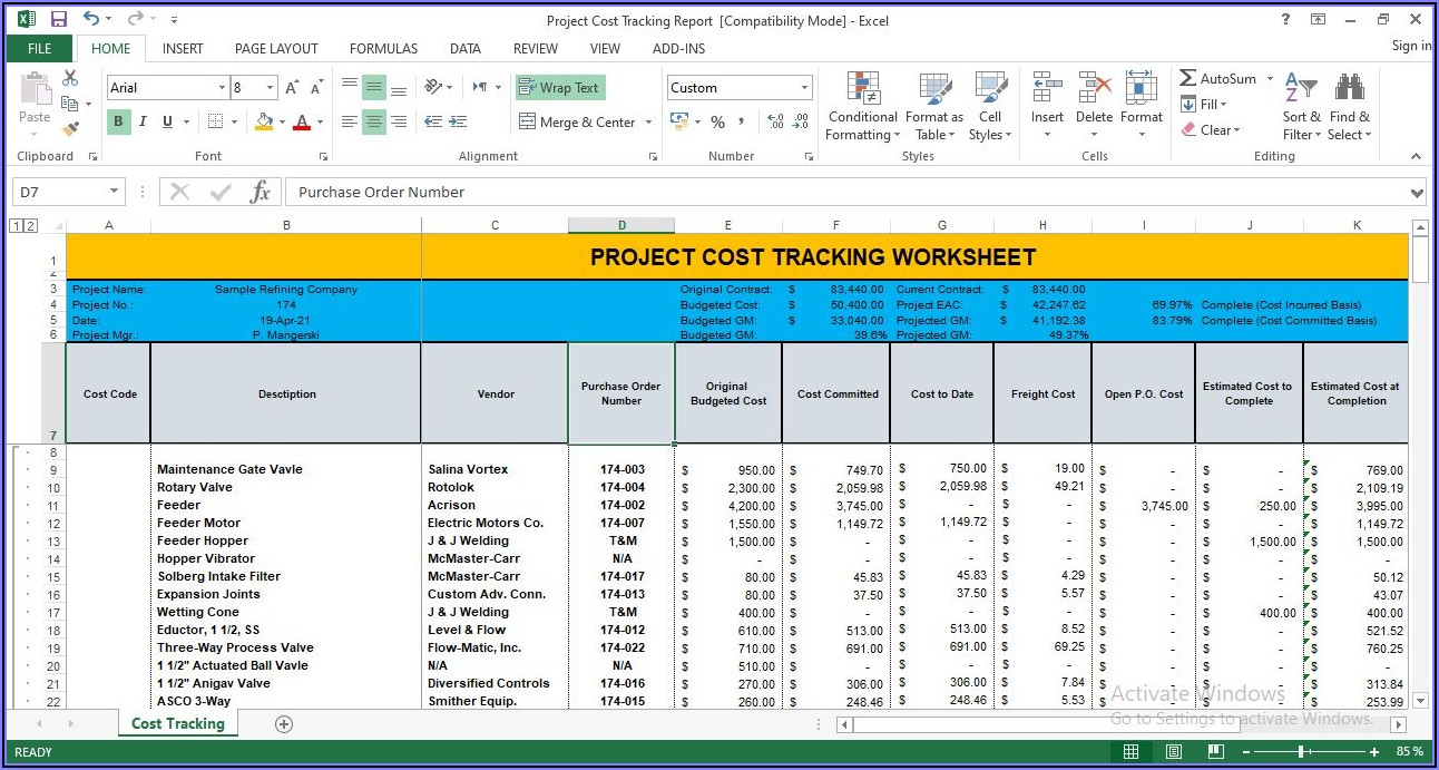 Project Cost Monitoring Excel Template