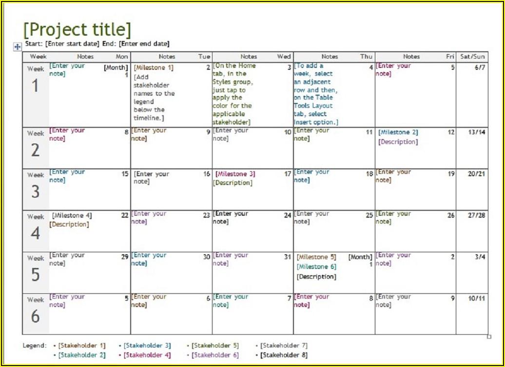Project Management Calendar Template Excel