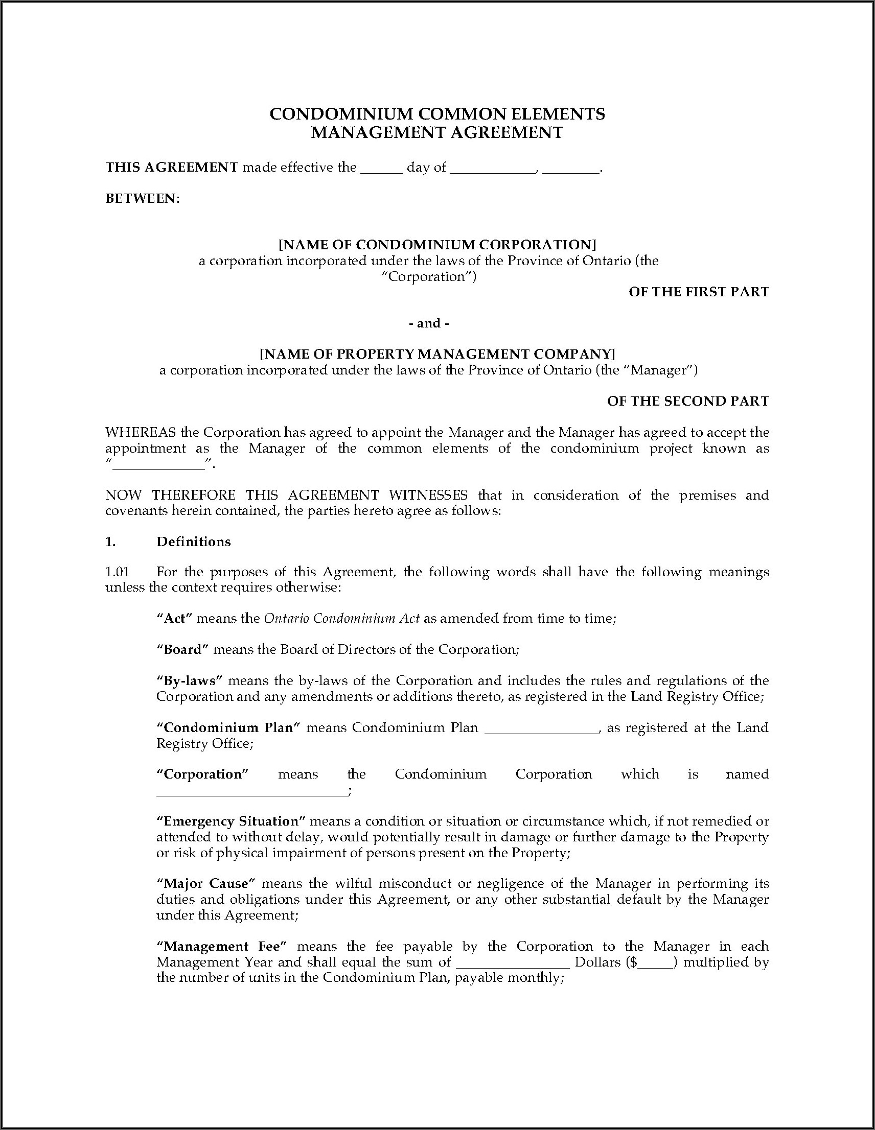 Property Management Agreement Template Ontario