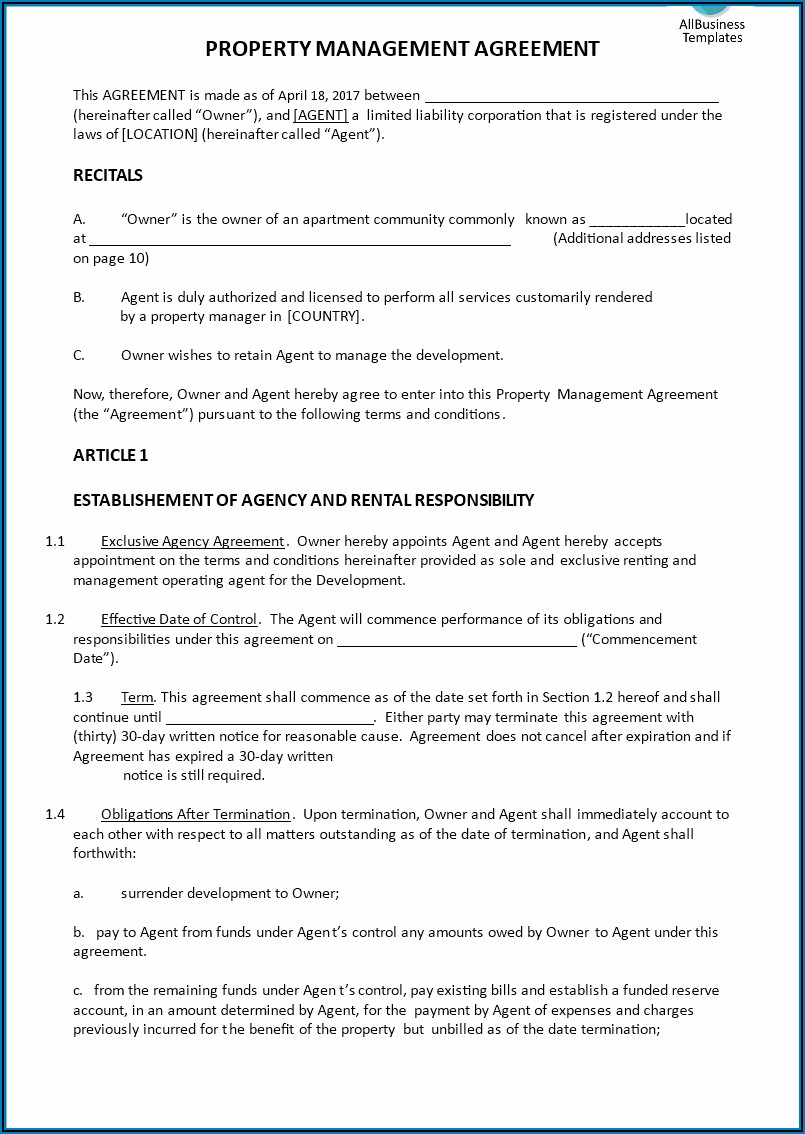 Property Management Agreement Templates