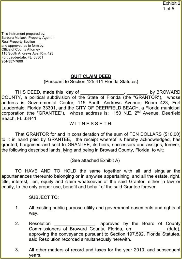 Quit Claim Deed Form Florida Free Download
