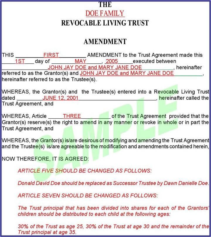 Revocable Trust Amendment Sample