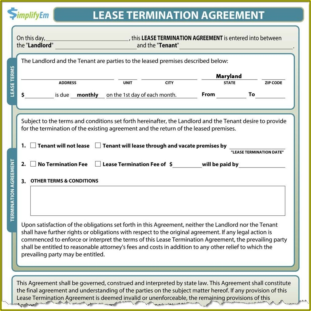 Room Rental Lease Agreement Maryland