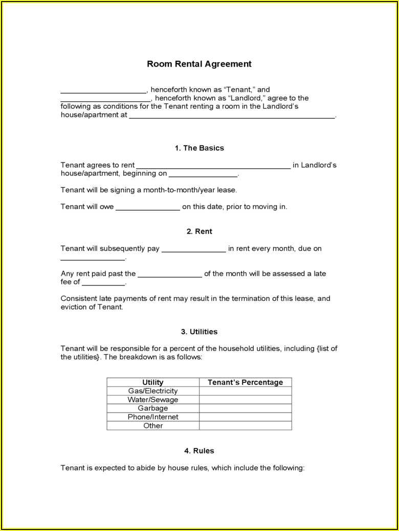 Room Rental Lease Agreement Ny