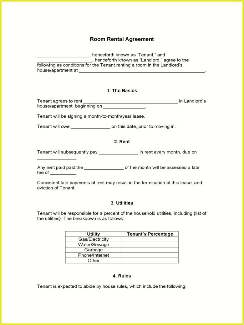 Room Rental Lease Agreement Ontario