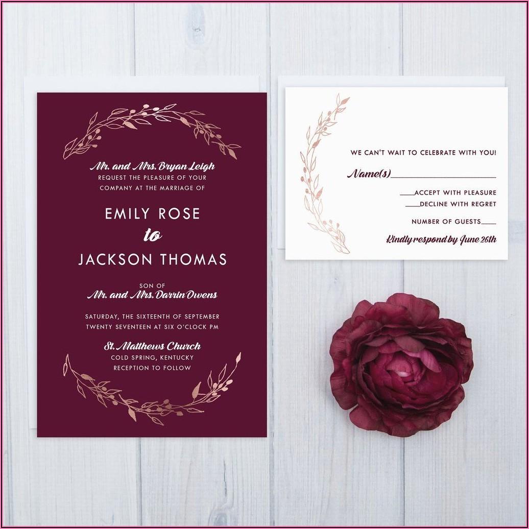 Rose Gold And Burgundy Wedding Invitations