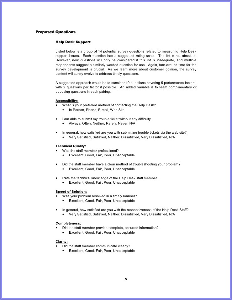 Sample Customer Satisfaction Survey Questions For Information Technology