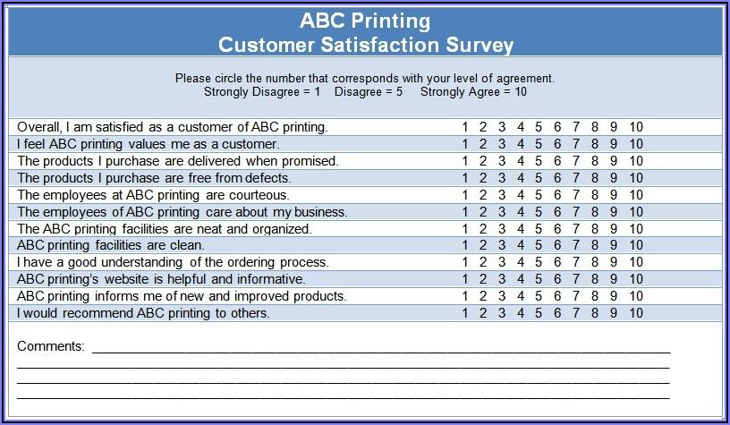 Sample Customer Satisfaction Survey Questions