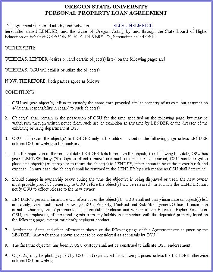 Sample Loan Document Templates