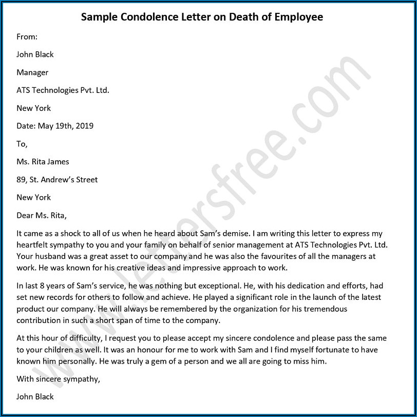 Sample Of A Death Announcement Letter To Employees