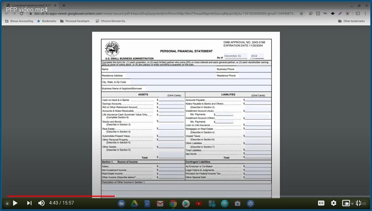 Sba Personal Financial Statement Form 413