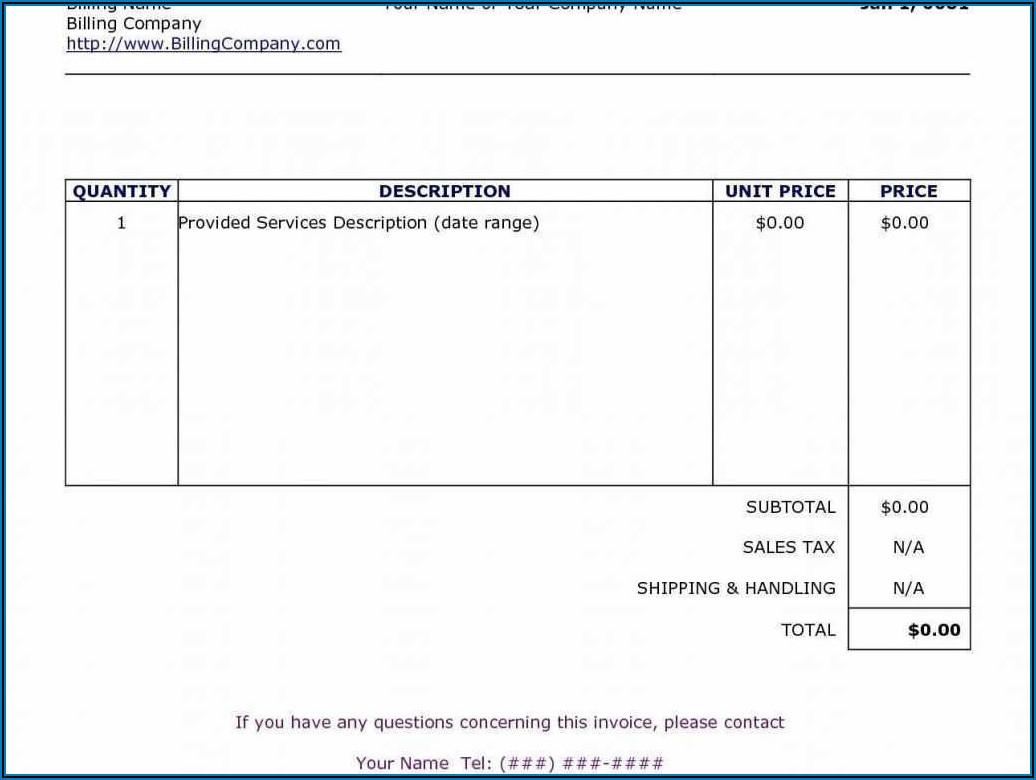 Self Employed Invoice Template Uk